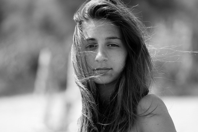 Girl with wind in hair